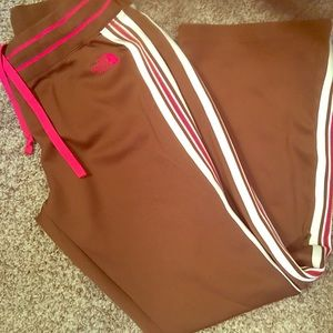 North Face Chocolate and White/Pink Stripe Pants